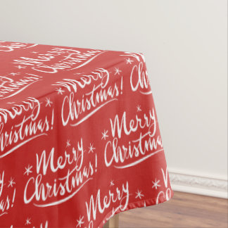 Red and white Merry Christmas pattern tablecloth