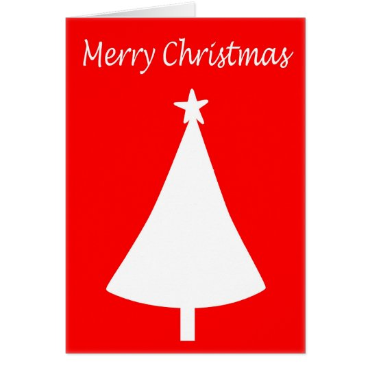 Red and White Merry Christmas Tree Card