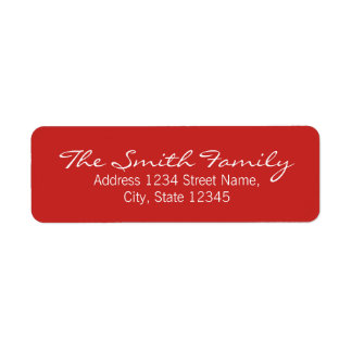 Red and White Modern Calligraphy Family Name Return Address Label