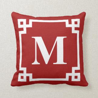 Red and White Modern Greek Key Border Monogram Throw Pillow