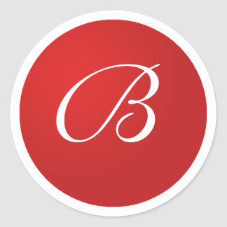 Red and White Monogram B Envelope Seal Stickers