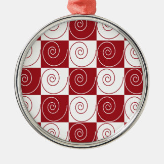 Red and White Mouse Tails Silver-Colored Round Ornament