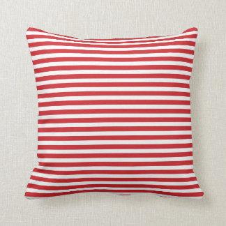 Red and White Nautical Stripes Throw Pillow