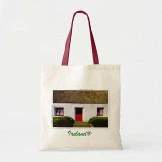 Red and White Old Irish Cottage Tote Bag