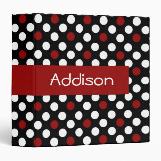 Red and White on Black Polka Dot Binder