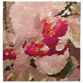 Red and White Orchid Abstract Napkin