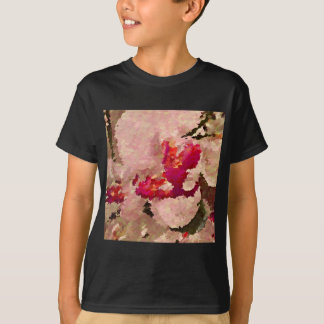 Red and White Orchid Abstract T-Shirt