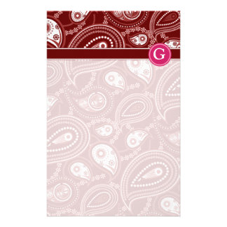 Red and White Paisley Custom Stationery