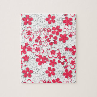 Red and white paper flowers jigsaw puzzle
