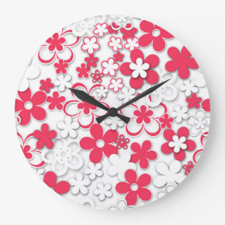 Red and white paper flowers large clock