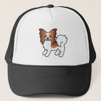 Red And White Papillon Cartoon Dog Trucker Hat