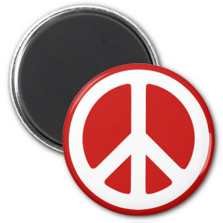 Red and White Peace Symbol Magnet