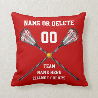Red and White Personalized Lacrosse Pillow