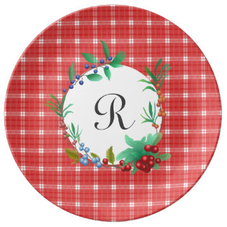 Red and White Plaid Berry Wreath Monogrammed Porcelain Plate