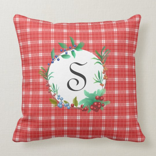 Red and White Plaid Berry Wreath Monogrammed Throw Pillow
