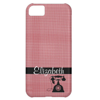 Red and White Plaid with Antique Telephone iPhone 5C Cover