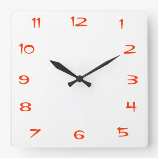 Red and White Plain>Square Kitchen Wall Clock