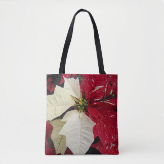 Red and White Poinsettia Holiday Tote Bag