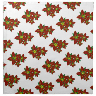 Red And White Poinsettias  Christmas Pattern Napkin