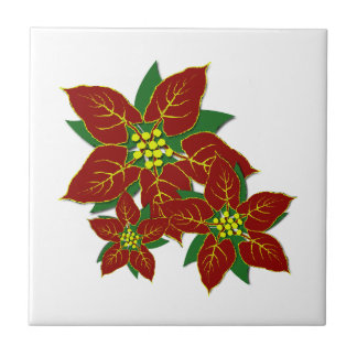 Red And White Poinsettias  Christmas Pattern Tile