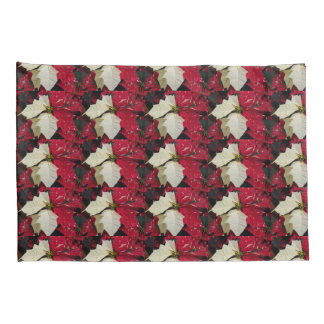 Red and White Poinsettias Floral Pillowcase