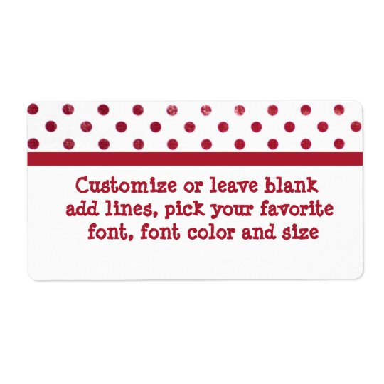 Red and white polk-a-dots large label shipping label