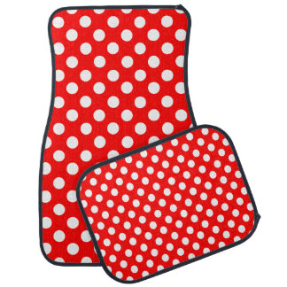 Red and White Polka Dot Car Mat Set