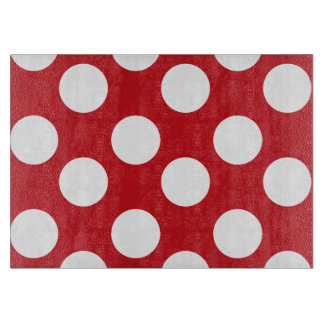 Red and White Polka Dot Glass Cutting Board