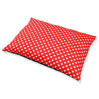 Red And White Polka Dot Hearts Pattern Dog Bed Large Dog Bed