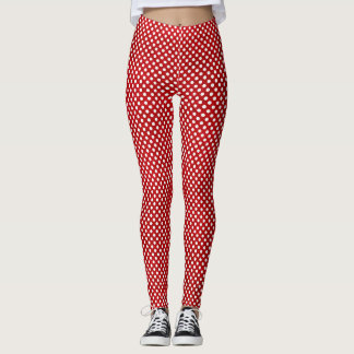 Red and White Polka Dot Minnie Leggings