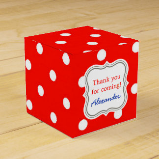 Red and white polka dot modern glamour cute favor box