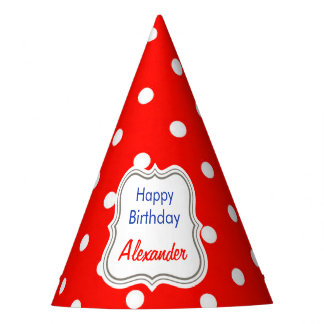 Red and white polka dot modern glamour cute party hat