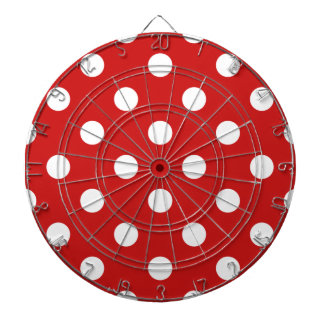 Red and White Polka Dot Pattern Dartboard