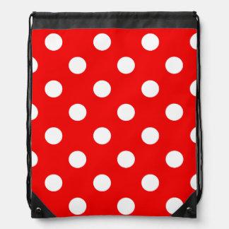Red and white polka Dot pattern Drawstring Bag