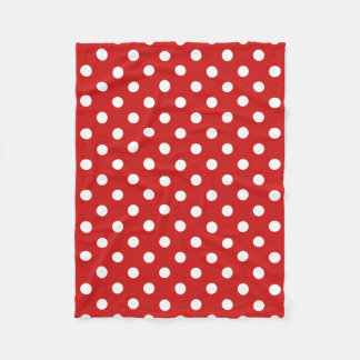 Red and White Polka Dot Pattern Fleece Blanket