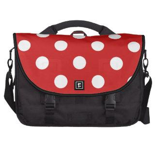 Red and White Polka Dot Pattern Laptop Shoulder Bag