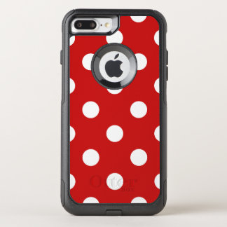 Red and White Polka Dot Pattern OtterBox Commuter iPhone 8 Plus/7 Plus Case
