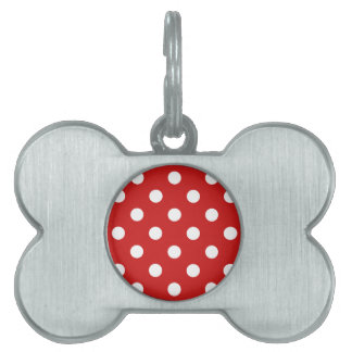 Red and White Polka Dot Pattern Pet ID Tag