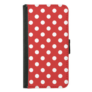 Red and White Polka Dot Pattern Samsung Galaxy S5 Wallet Case