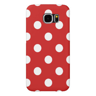 Red and White Polka Dot Pattern Samsung Galaxy S6 Cases