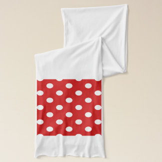 Red and White Polka Dot Pattern Scarf