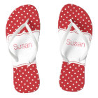 Red and White Polka Dot Personalized Flip Flops