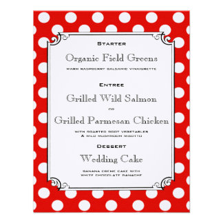 Red and White Polka Dot Reception Dinner Menu Personalized Invites
