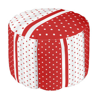 Red and White Polka Dot Stripes Pouf