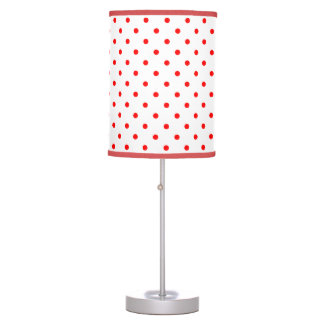 Red and white polka dot table lamp