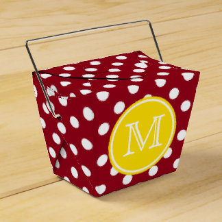 Red and White Polka Dot With Yellow Monogram Favor Box