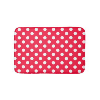 Red and white polka dots bathroom rug