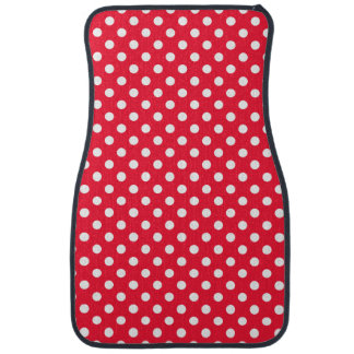Red and White Polka Dots Car Mat
