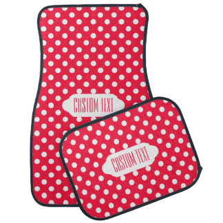 Red and white polka dots car mats