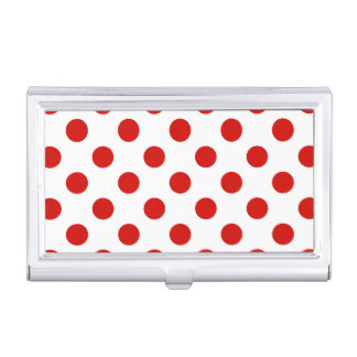 Red and white polka dots case for business cards